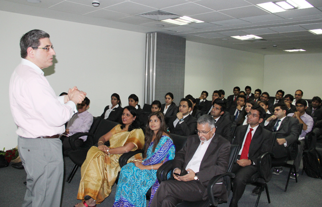 Dr. David Cohen, Management Guru, addressing MBA students.